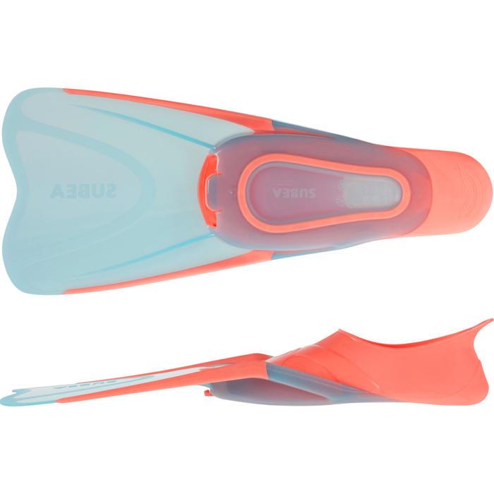 成人款浮潛蛙鞋SNK 500-淺碧藍色/珊瑚紅
