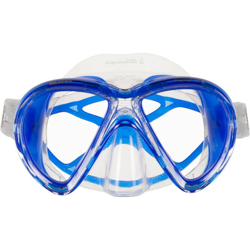 Mares X-Vu Liquid Skin Scuba Diving Mask - Crystal and Blue