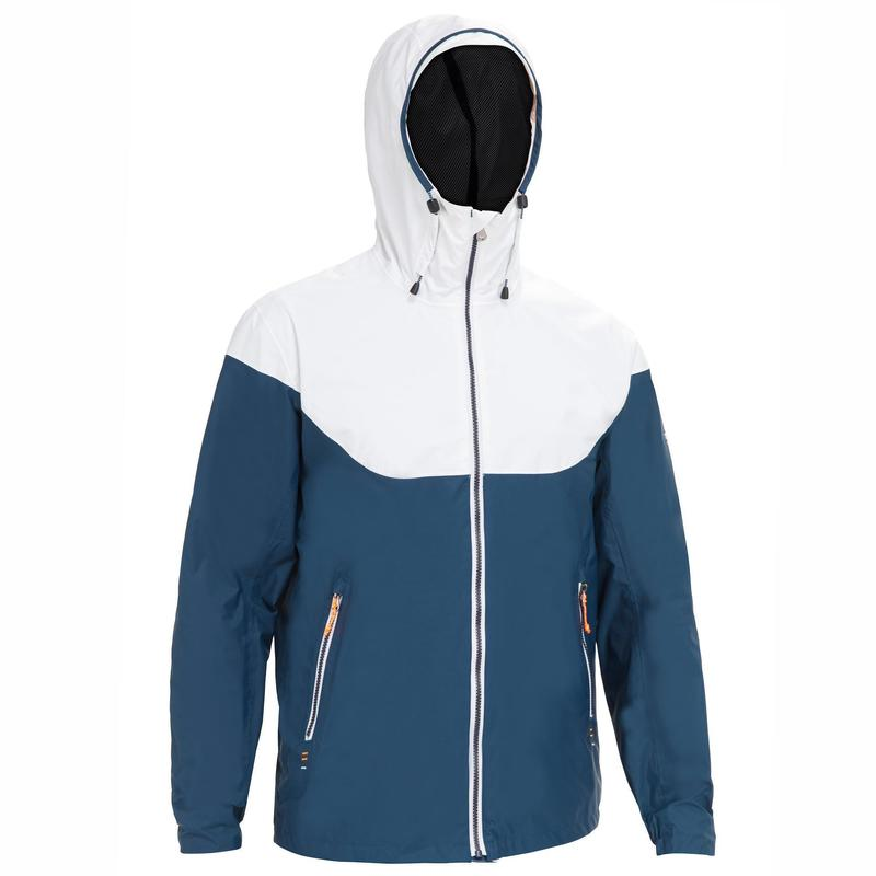 Jachetă Impermeabilă Navigație Sailing 100 Albastru-Alb Bărbați
