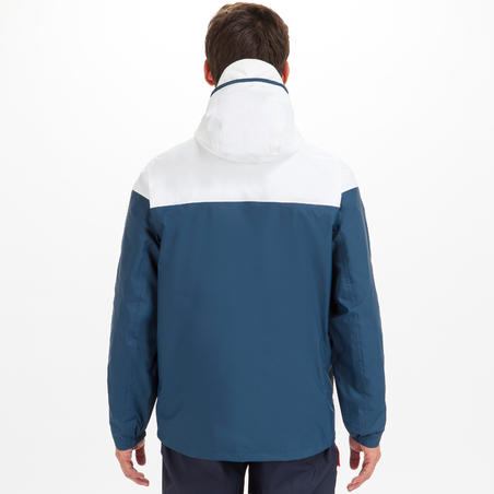 Chamarra Vela Sailing 100 Hombre Azul Blanco Impermeable