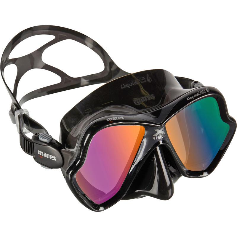 X-Vision Liquid Skin Diving Mask - Black/Grey, Gold Mirror Lenses