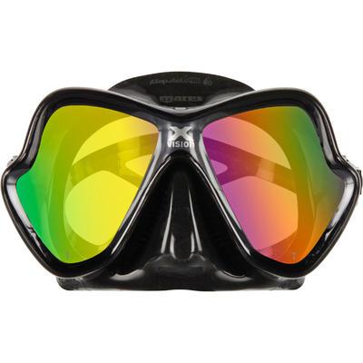 Masque de plongée sous-marine X-Vision Liquid Skin Noir/Gris, verre miroir doré