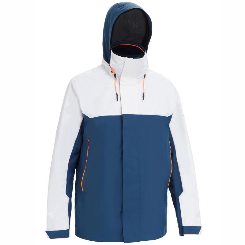 Pánská nepromokavá bunda Sailing 300 na plavbu větruodolná modro-bílá