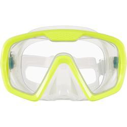 Duikbril voor diepzeeduiken SCD 100 transparante mantel en gele rand
