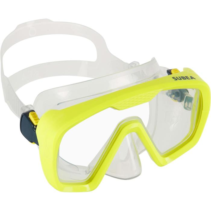 Masque de plongée bouteille SCD 100 jupe translucide et cerclage jaune