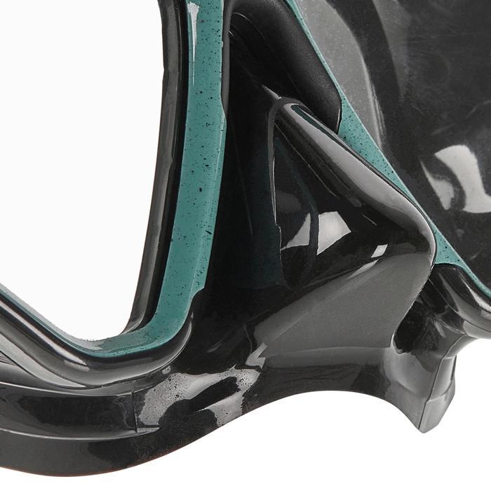 Masque de plongée sous marine SCD 500 Bi-hublot noir bleu turquoise