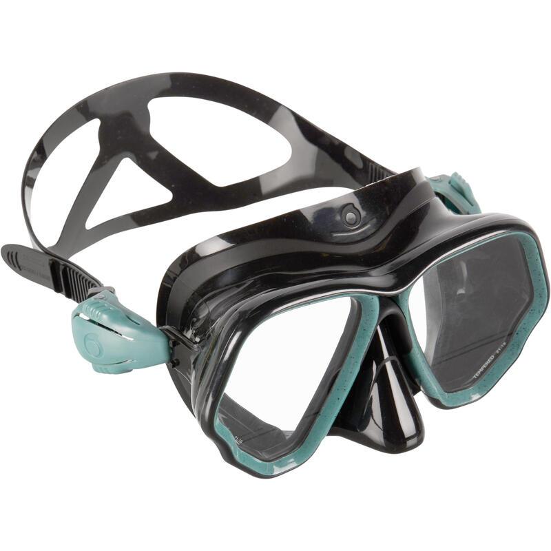 Duikbril voor diepzeeduiken SCD 500 twee glazen zwart/blauw/turquoise