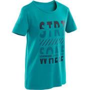 Boys' Short-Sleeved Gym T-Shirt 100 - Blue/Navy Blue Print