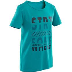 T-shirt manches courtes 100 garçon GYM ENFANT bleu imprimé bleu marine