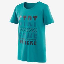 T-shirt met korte mouwen voor gym jongens 100 blauw/opdruk in marineblauw