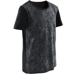 T-shirt met korte mouwen voor gym jongens 100 zwart/print