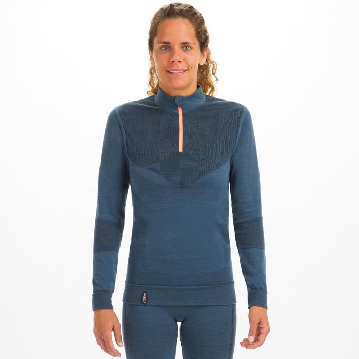 Camiseta ML Tribord Sailing 500 Mujer Gris Cálida Lana Merina