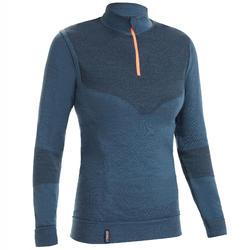 Warm damesshirt met lange mouwen voor zeilen Sailing 500 grijs