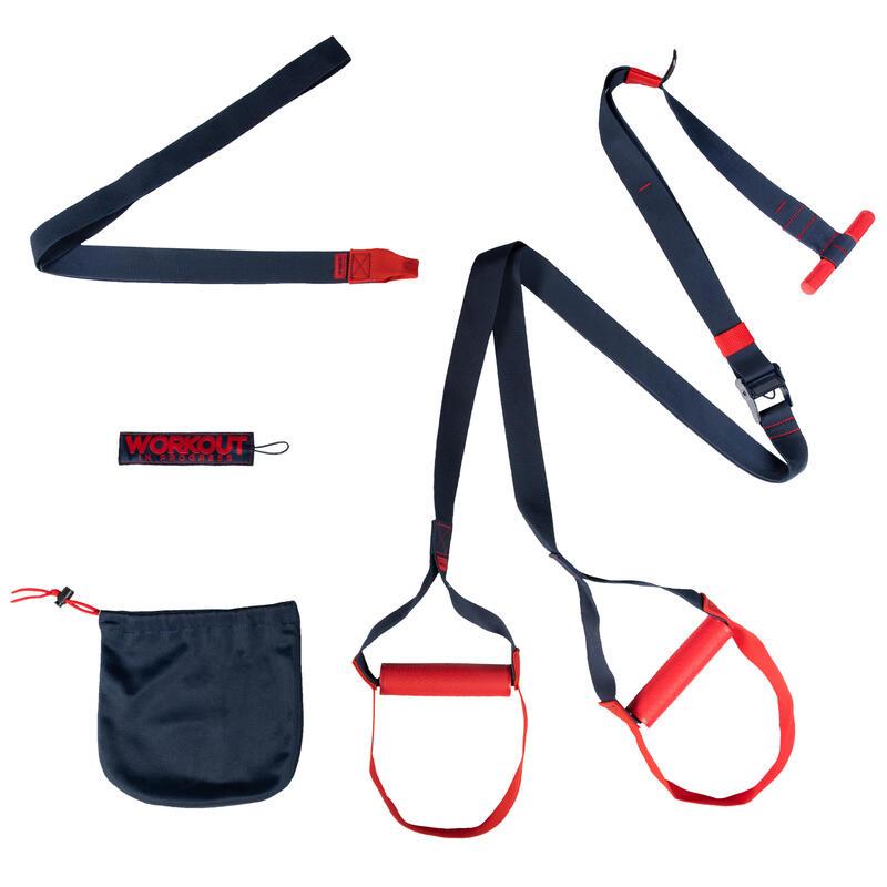 Correas de suspensión cross training Domyos Strap Training DST 100 azul y rojo