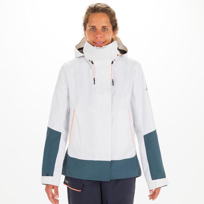 Segeljacke Sailing 300 Wasserdicht Winddicht Damen weiss/grau