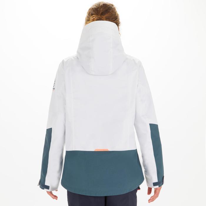 Women's sailing waterproof jacket SAILING 300 - white grey