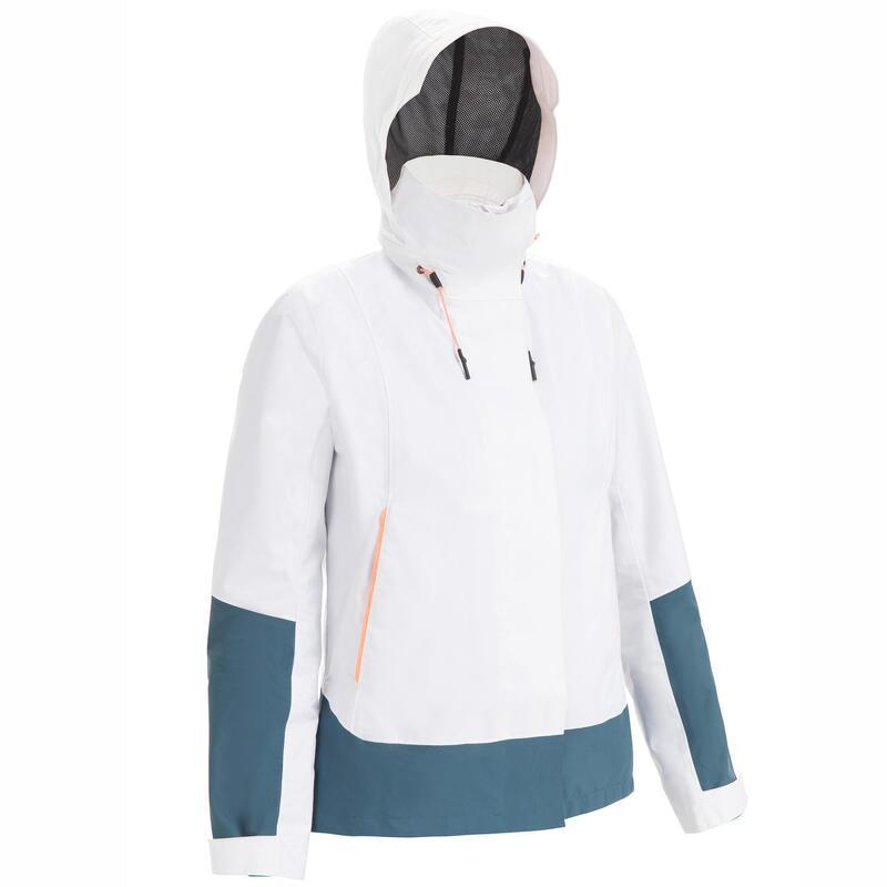 Chaqueta Vela Sailing 300 Mujer Blanco Gris Impermeable Cortaviento