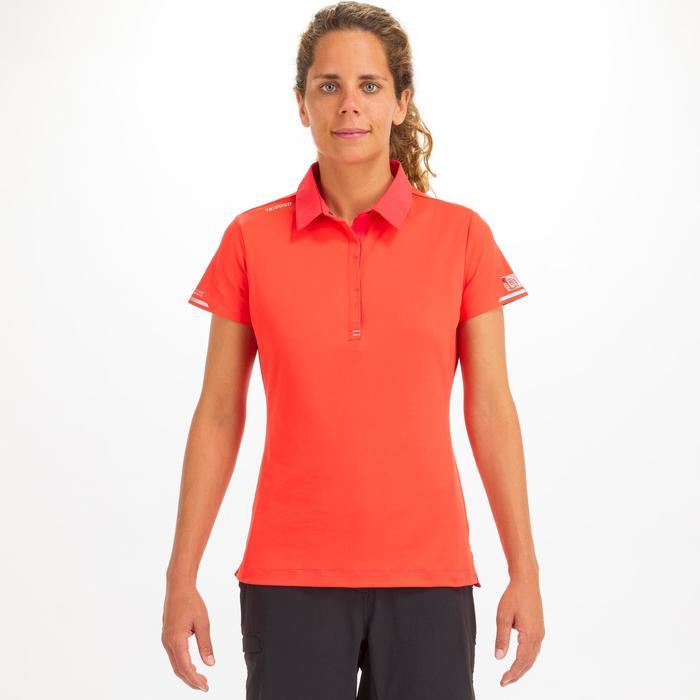 女款航海短袖Polo衫Race-珊瑚紅