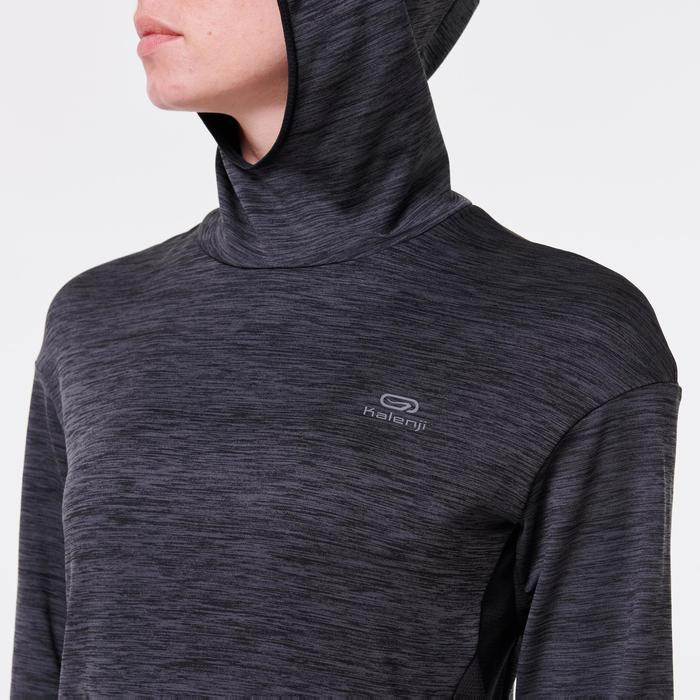 女款長袖連帽運動衫RUN WARM - 黑色