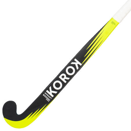 FH520 Intermediate 20% Carbon Low Bow Indoor Hockey Stick Blue/Yellow - Adult