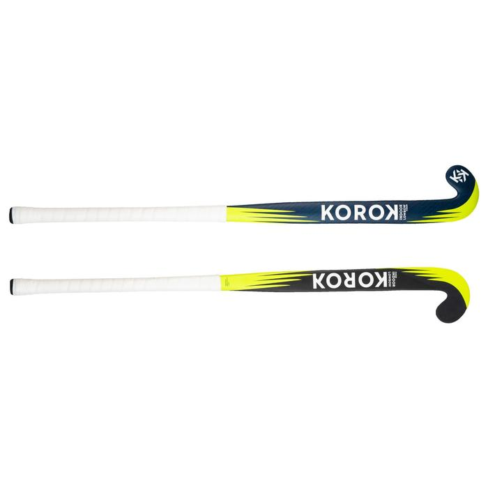 Stick de hockey indoor adulte confirmé 20% carbone Low Bow FH520 bleu et jaune