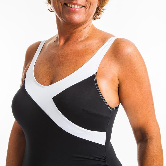Corrigerend badpak voor aquagym Karli zwart/wit