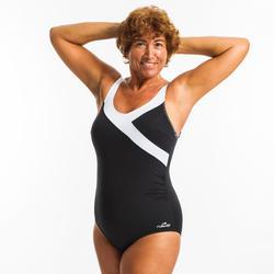 Women's aquafitness Karli one-piece body-sculpting swimsuit - black white