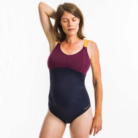 Women's Aquafitness One-Piece Swimsuit Aya - Blue Burgundy