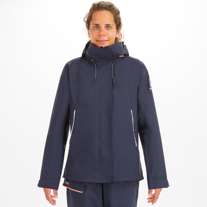 Segeljacke Sailing 300 Wasserdicht Winddicht Damen marineblau