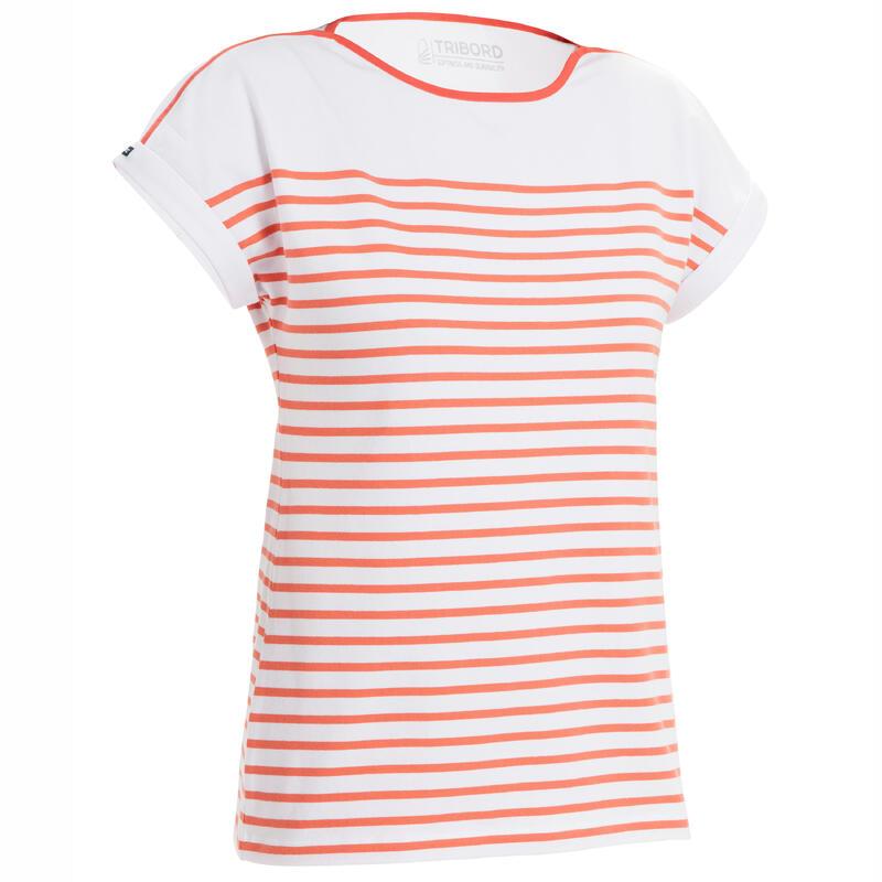 Camiseta Manga Corta Vela Sailing 100 Mujer Blanco Rojo Estilo Marinero