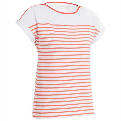 T-Shirt Manches courtes - marinière de voile Sailing 100 Femme Blanc rouge