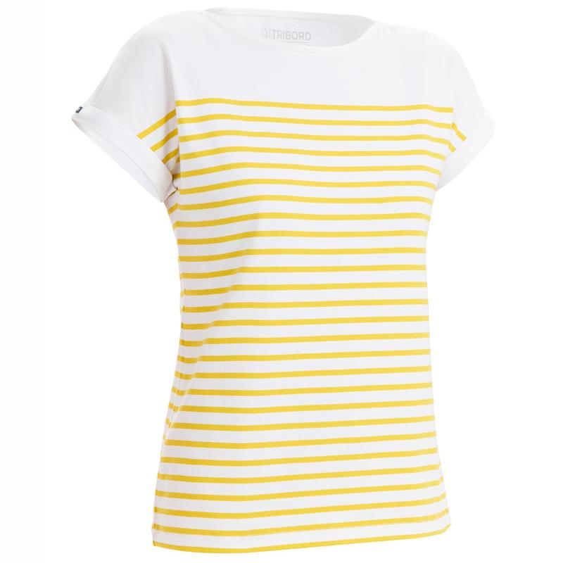 Camiseta Manga Corta Vela Sailing 100 Mujer Blanco Amarillo Estilo Marinero