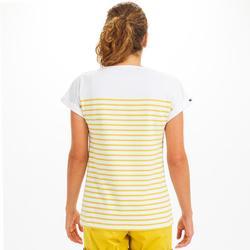 T-Shirt Marinière femme SAILING 100 Blanc jaune
