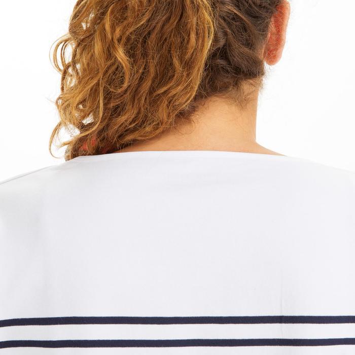 女款航海短袖Polo衫Sailing 100-白色/軍藍色