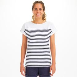 T-Shirt Marinière femme SAILING 100 Blanc navy