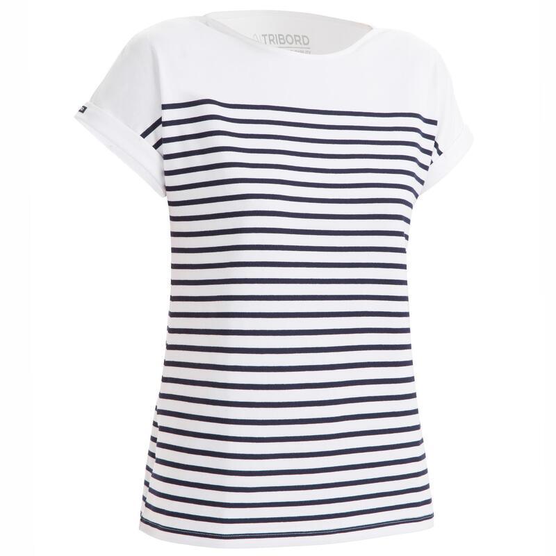 Camiseta Manga Corta Vela Sailing 100 Mujer Blanco Azul Marino Estilo Marinero