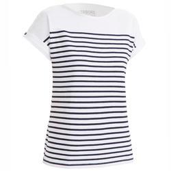Damesshirt met korte mouwen voor zeilen Sailing 100 wit/marineblauw