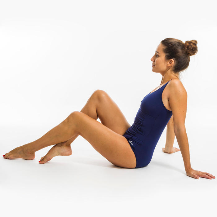女款水中健身塑身連身泳裝Mary-藍色