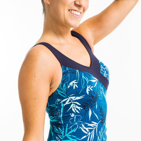 Maillot de bain une pièce femme gainant d'aquagym Yuka bleu
