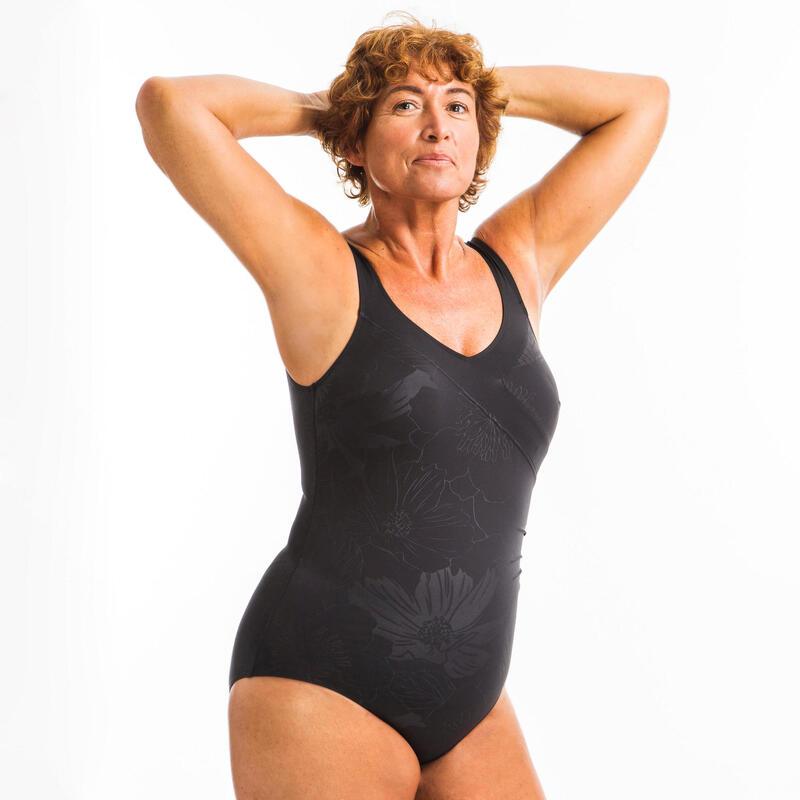 Bañador Moldeador Efecto Vientre Plano Aquagym Mujer Nabaiji Negro