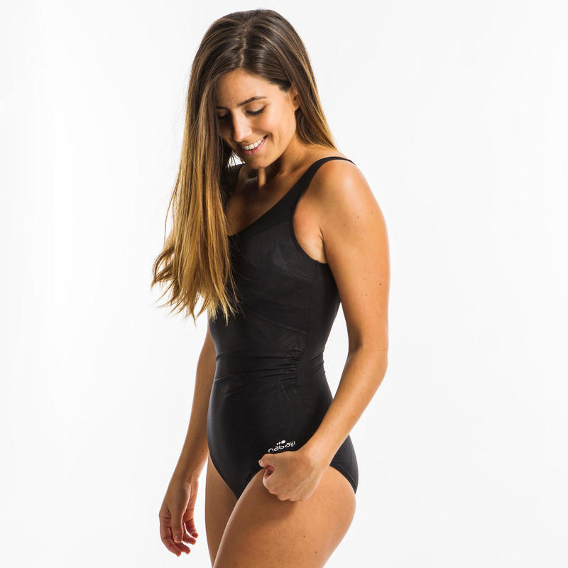Women's aquafitness one-piece body-sculpting Karli swimsuit - Lily Black