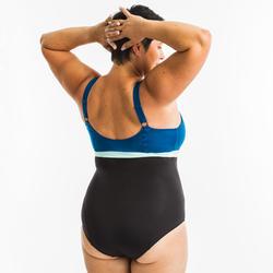 Maillot de bain une pièce femme gainant d'Aquagym Mia noir bleu Bonnet D/E
