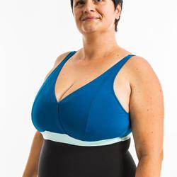 Corrigerend badpak voor aquagym Mia cupmaat D/E zwart/blauw