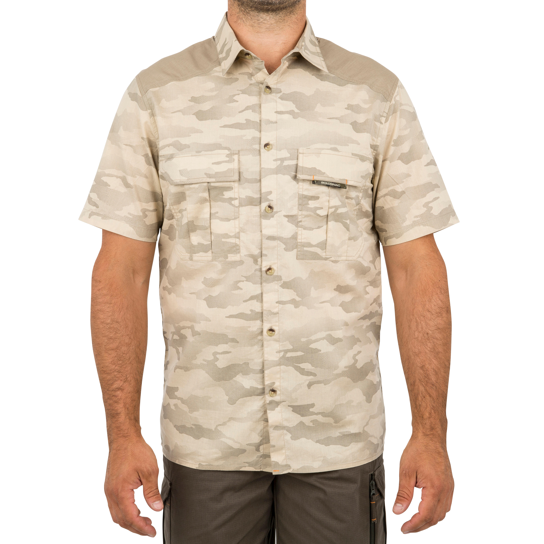 Men's Short Sleeve Shirt 100 Camo Halftone Sand