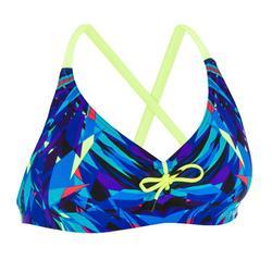 Bikinitop voor zwemmen dames uiterst chloorbestendig Jana kal blauw/geel