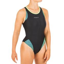 Maillot de bain de natation femme une pièce Laïa noir et vert