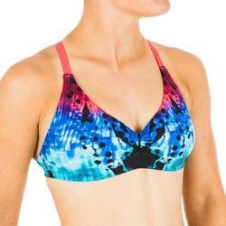 Brassière de natation femme ultra résistante au chlore Jana leo bleu et corail