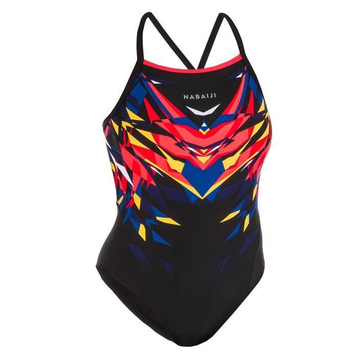 Sportbadpak voor zwemmen dames Kal rood/zwart
