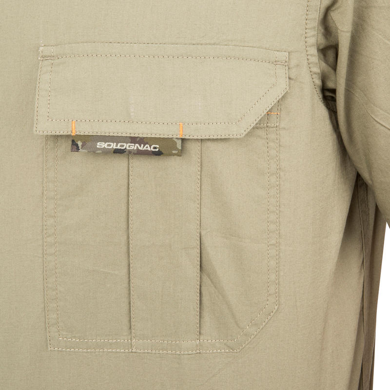Chemise manches courtes chasse 100 vert clair