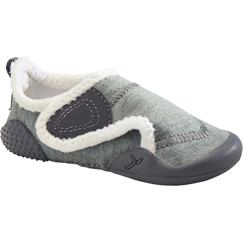 Zapatillas Bebé primeros pasos Domyos 550 forro polar gris tallas 20 al 30